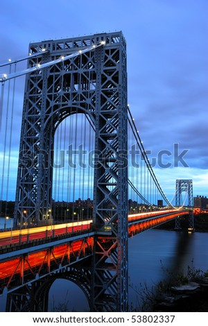Suspension Bridge crossing from New Jersey into New York - stock photo