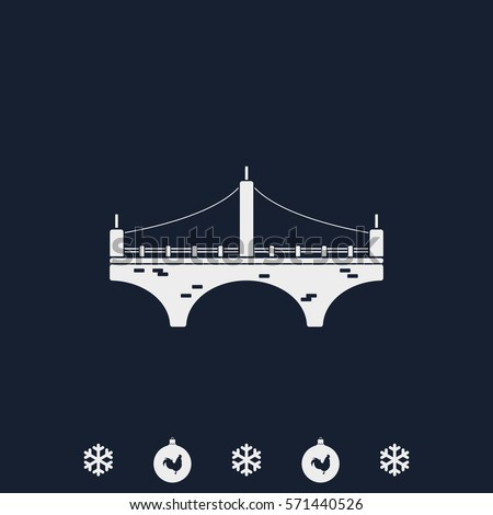 Vector Illustration Outline Brooklyn Bridge Icon Stock ...