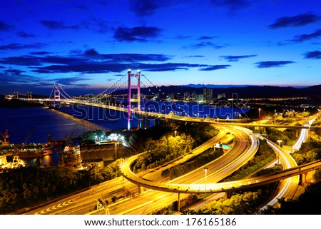 Suspension bridge in Hong Kong - stock photo
