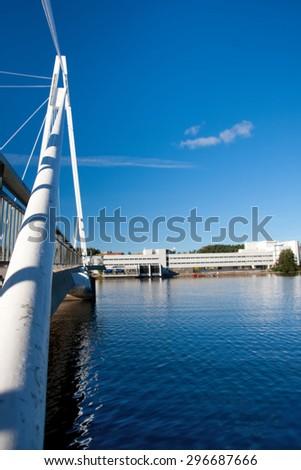 Suspension Bridge in Jyvaskyla, Finland - stock photo