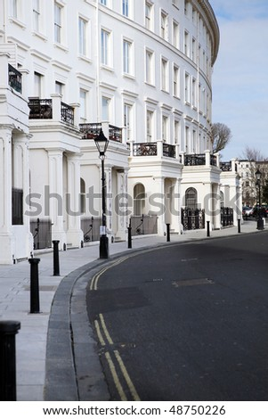 sussex square crescent apartments in brighton england. Classic regency architecture in kemp town. row of fashionable grand flats - stock photo