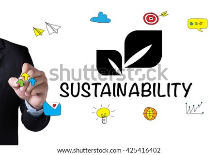 SUSTAINABILITY and Businessman drawing Landing Page on white background - stock photo