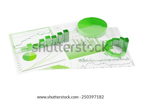 Sustainability with ecological financial planning with statistics and graphs (3D Rendering) - stock photo