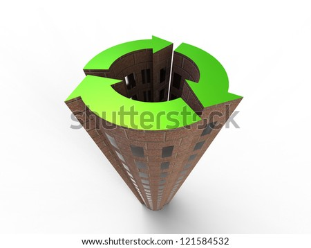 Sustainable City isolated on a white background - stock photo