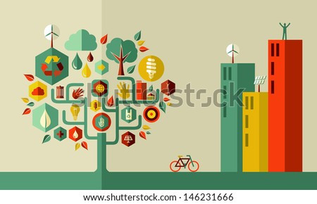 Sustainable energy town concept. - stock photo