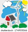 Sustainable family house with solar panels and wind turbine - stock photo
