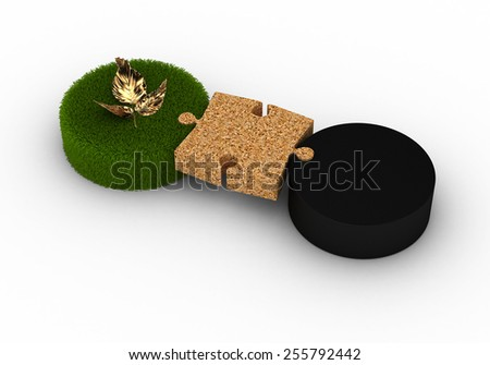 Sustainable Link between Industrial and Organic - stock photo