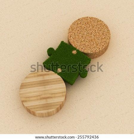 Sustainable Link | Grass link between wooden pieces - stock photo