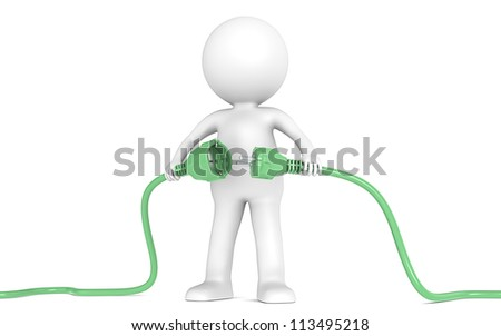 Sustainable Solution. 3D little human character holding green Power Cable. Male and Female plug. People series.