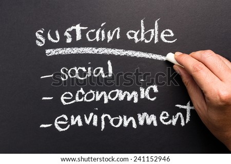 Sustainable topic on chalkboard for sustainable development business concept - stock photo
