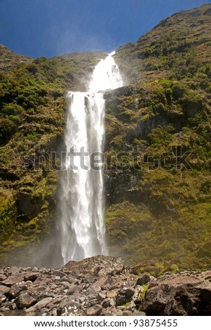 Sutherland Falls - heighest waterfall in New Zeland - stock photo