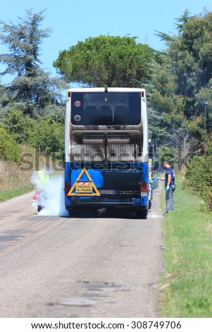 SUTRI, ITALY - AUGUST 22, 2015:  Cotral bus from Rome caught fire on the Cassia road towards Viterbo