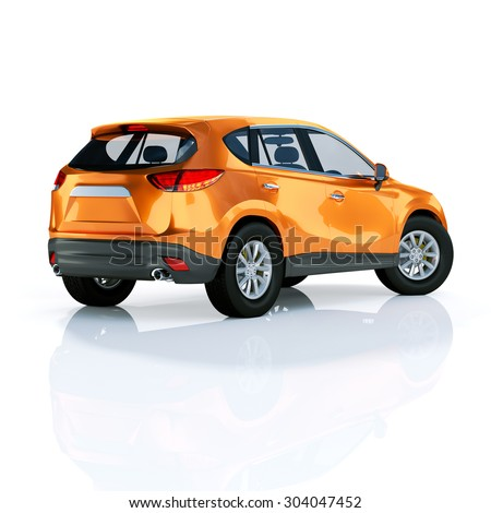 Suv car on white background 3d rendering. - stock photo