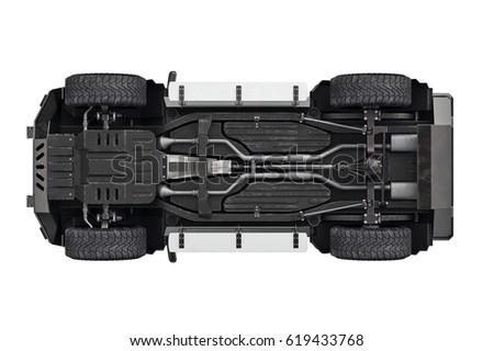 suv car transport 4wd suspension bottom stock illustration. Black Bedroom Furniture Sets. Home Design Ideas