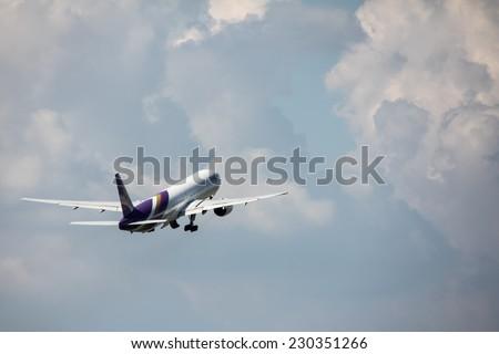 Suvarnabhumi Airport, Thailand - November 12: Thai Airway takeoff from  Suvarnabhumi Airport in Bangkok on November 12,2014 - stock photo