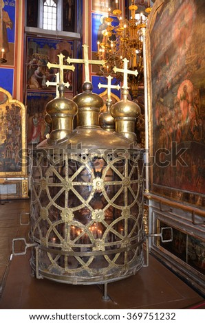 Suzdal, Russia, January, 27, 2013. The king lantern, in the Nativity Cathedral of Suzdal Kremlin