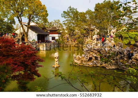 SUZHON, JIANGSU/CHINA-APR 13: Lion Forest Garden scene-One of Chinese classical garden on Apr 13,2015 in Suzhou, Jiangsu, China.