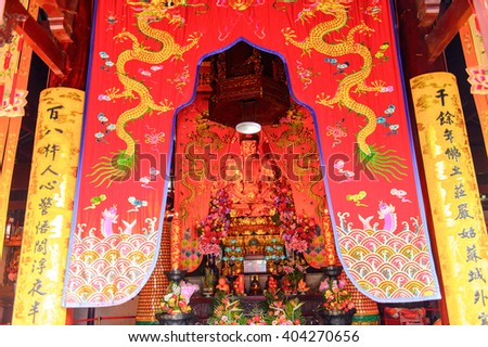 SUZHOU, CHINA - APR 1, 2016: Buddha statue at the North Temple Pagoda (Beisi Pagoda) at the Bao'en Temple complex in Suzhou, Jiangsu Province, China.