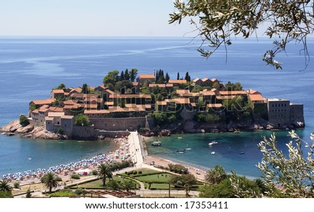 Sv. Stefan island turned into one big hotel in Montenegro (Europe) - stock photo
