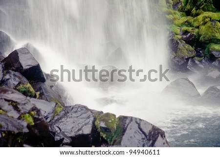 Svartifoss waterfall hits riverbed, Skaftafell N.P., Iceland - stock photo