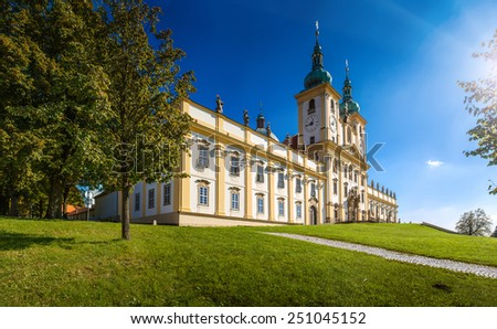 Svaty Kopecek with its well-known Pilgrimage Church of the Visitation of Virgin Mary - stock photo