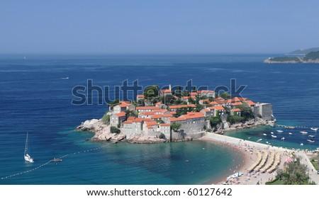 Sveti Stefan downtown in Montenegro, Europe - stock photo