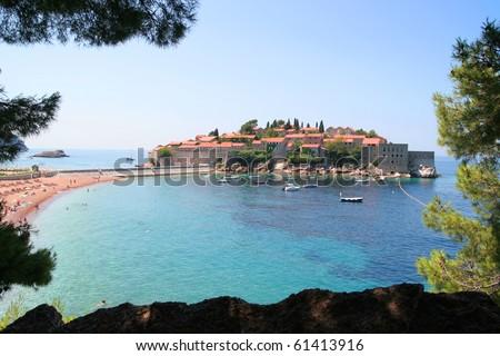 Sveti Stefan island in Montenegro. - stock photo