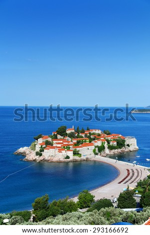 Sveti Stefan island near city of Budva, Montenegro on Adriatic coast. - stock photo