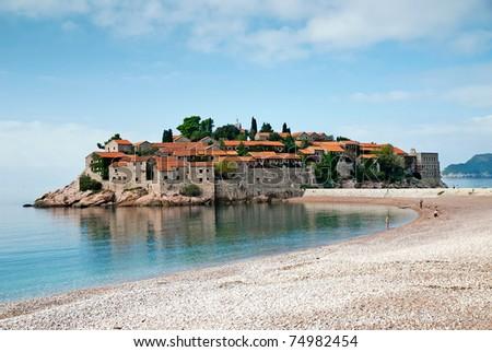 sveti stefan island resort in montenegro - stock photo