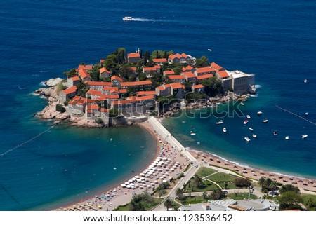 Sveti Stefan, island resort, Montenegro, morning light - stock photo