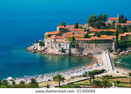 Sveti Stefan resort island-hotel in Montenegro - stock photo