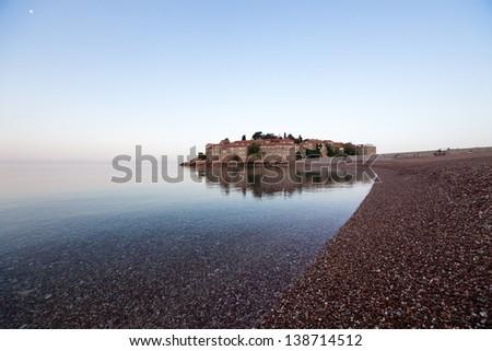 Sveti stefan, small island in Montenegro. - stock photo
