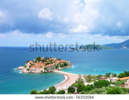 Sveti Stefan (St. Stefan) island-resort in Adriatic sea, Montenegro - stock photo