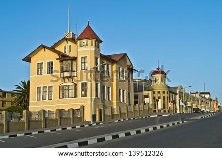 Swakopmund street view, german architecture - stock photo
