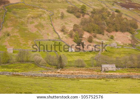 Swaledale in the Yorkshire Dales National Park. - stock photo