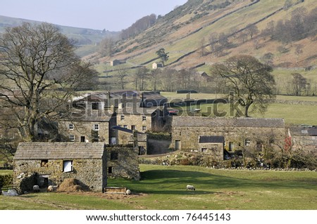 Swaledale landscape in Yorkshire Dales National Park - stock photo