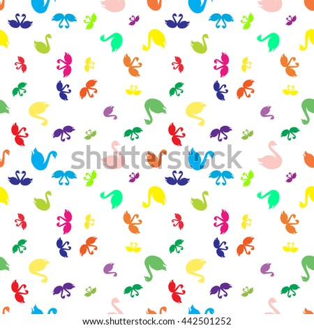 Swan colorfull bright seamless pattern. - stock photo