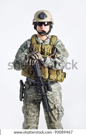 SWAT Team Officer on white isolated background