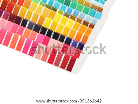 swatch of colorful thread on white background