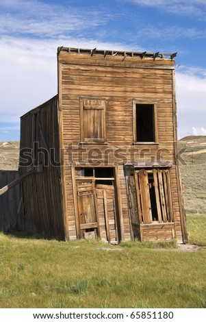Swazey Hotel, also used as clothing store and casino, Bodie Ghost Town, CA - stock photo