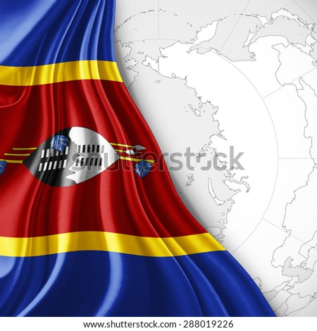Swaziland  flag of silk with world map and white background - stock photo