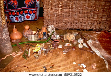 SWAZILAND - JULY 15: Sangoma's hut on 15 July 2000 at Swaziland. Sangoma is the shaman, healer and magicician in Swazi and Zulu culture.