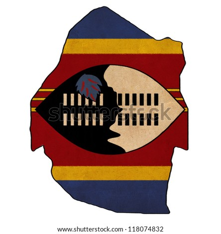Swaziland map on Swaziland flag drawing ,grunge and retro flag series - stock photo