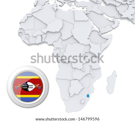 Swaziland with national flag - stock photo