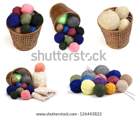 Sweaters and balls of wool isolated on white, set