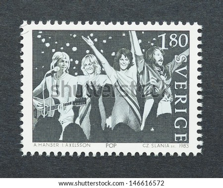 SWEDEN - CIRCA 1983: a postage stamp printed in Sweden showing an image of Abba band, circa 1983.  - stock photo