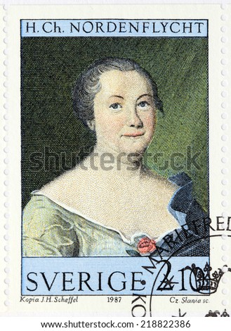 SWEDEN - CIRCA 1987: A stamp printed by SWEDEN shows image portrait of popular poet in the 18th century Hedvig Charlotta Nordenflycht by  Swedish artist Johan Henrik Scheffel, circa 1987