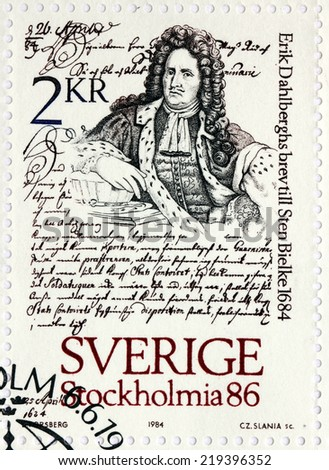 SWEDEN - CIRCA 1984: A stamp printed by SWEDEN shows image portrait of Swedish engineer, soldier, and field marshal Erik Dahlberg against his letter to Sten Bielke, circa 1984