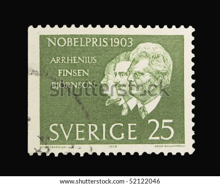 SWEDEN - CIRCA 1968: A stamp printed in Sweden showing queen nobel awarded scientists, circa 1968