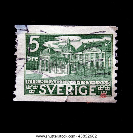 SWEDEN - CIRCA 1935: A stamp printed in Sweden shows Parliament building in Oslo, circa 1935